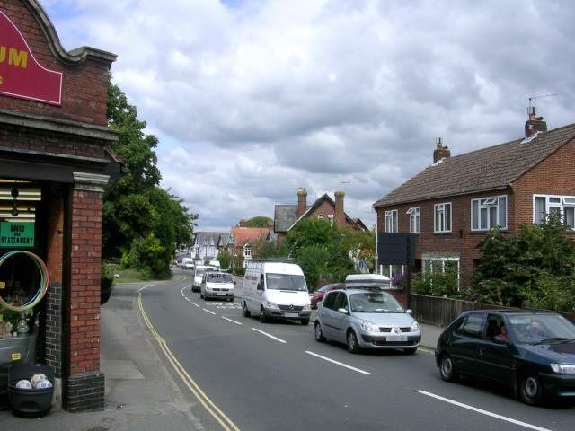 Traffic queue on Romsey Road, Lyndhurst