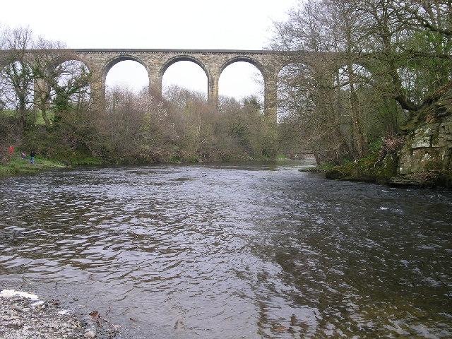 Cefn railway viaduct over river Dee