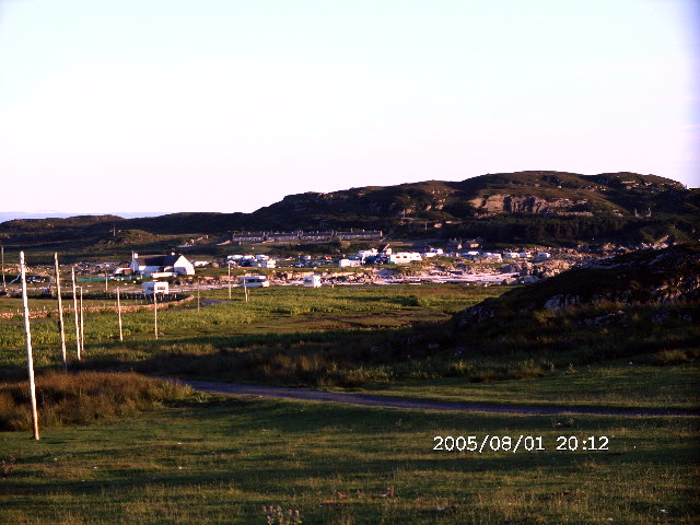 Evening sun on the hamlet of Fidden and campsite on the Rossof Mull