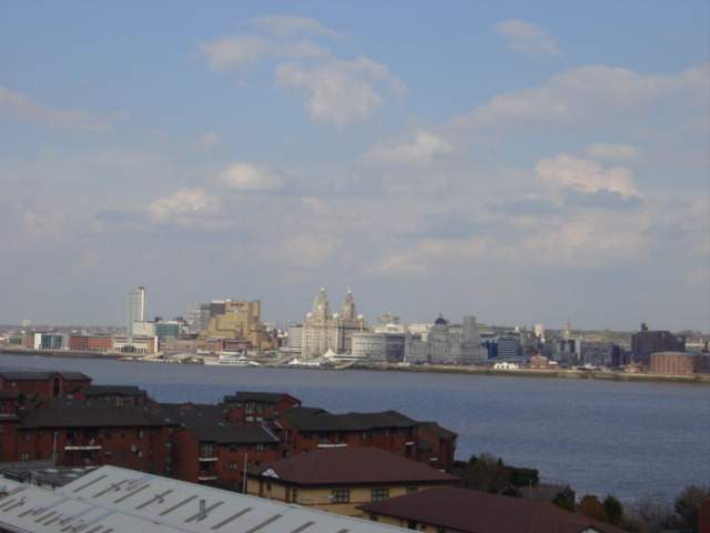 Liverpool waterfront from St Mary's church, Birkenhead Priory