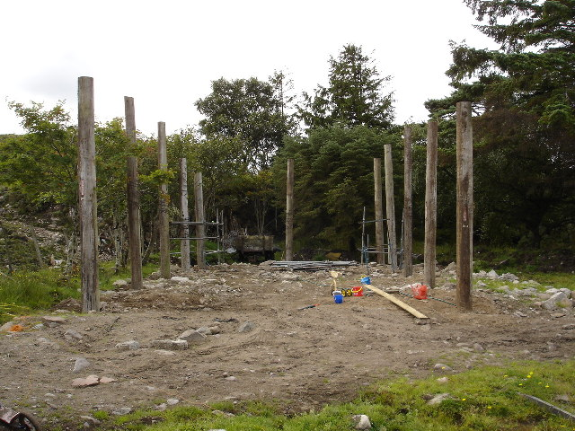 Pole barn under construction