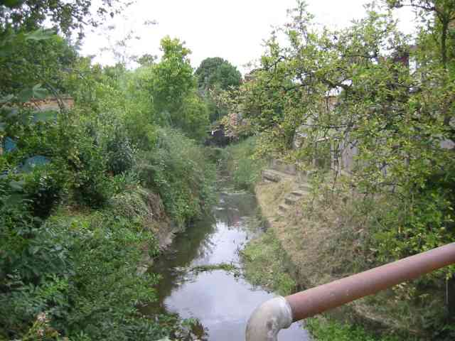 The Brook flowing under Oakridge Avenue  Radlett