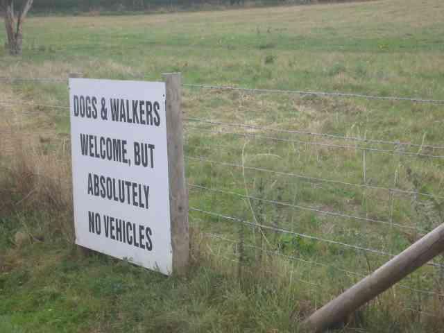 Sign at end of the upmarket estate.