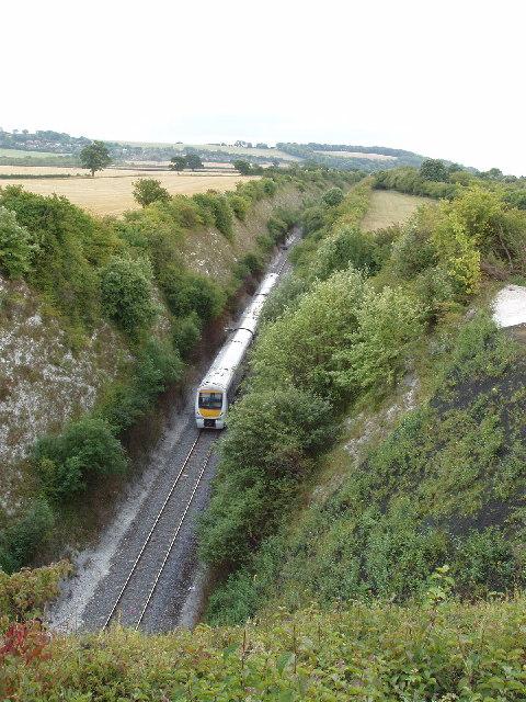 Train in cutting near Saunderton tunnel
