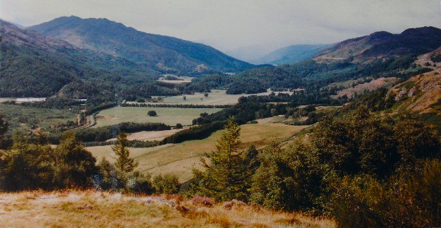 View over valley of River Earn above Comrie from Melville Monument