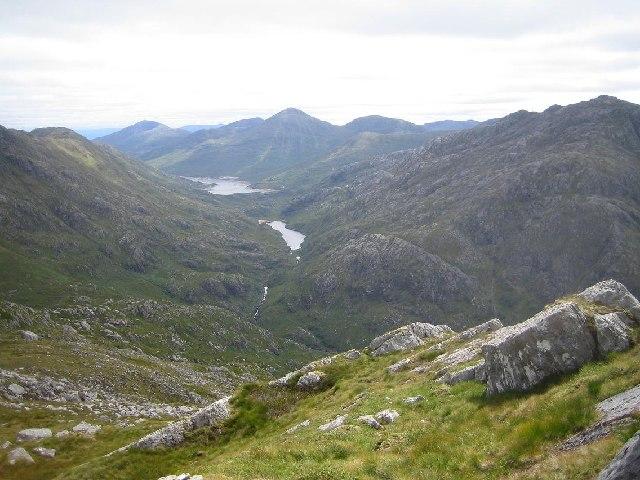Lochan nam Breac from the east ridge of Luinne Bheinn
