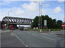 SJ3894 : Disused railway bridge over A580 by Sue Adair