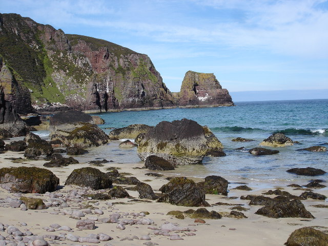 View to the stacks from beach under Cnoc nan Stac