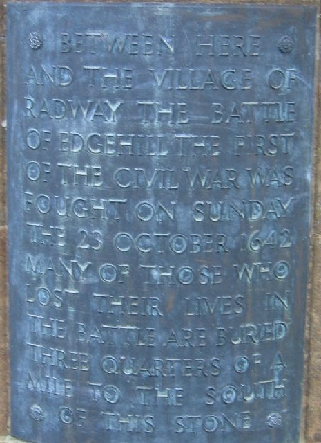 Plaque on the Monument to the Battle of Edgehill