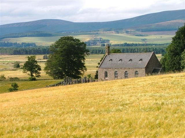 Coull Kirk  with Broom Hill in the Distance