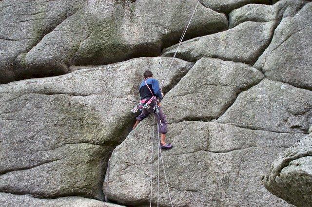 Climber at Vixen Tor