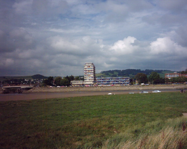 Civic Centre, Barnstaple, from south bank of river Taw