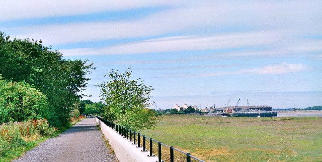 Cycle track/Lancs Coastal Path on line of old railway, Glasson
