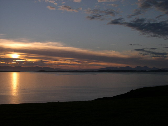 Sunset over Gigha, Islay and Jura from North Beachmore Restaurant