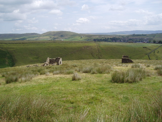 Derelict hill farms near Whitworth, Lancashire