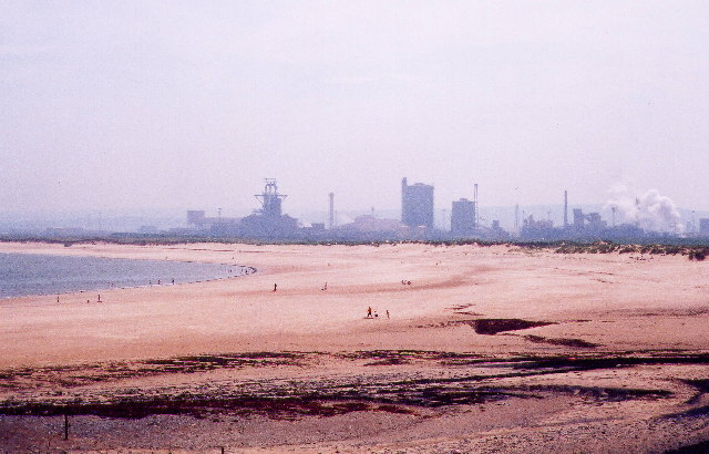 Coatham Sands looking towards Redcar Steelworks