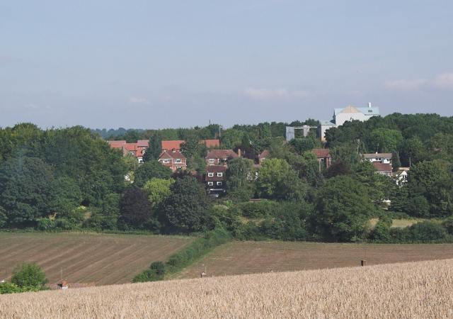 Bournefields housing with Northfields Farm feed mill, Twyford