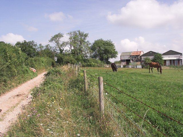 Watley Lane bridleway, with stables above Hensting Farm