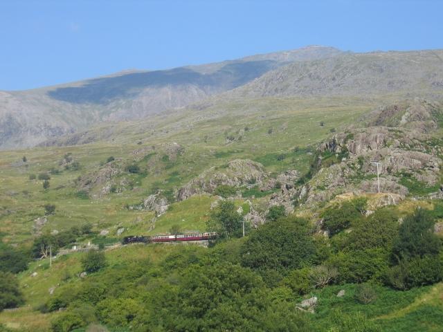 Welsh Highland Railway train and Snowdon