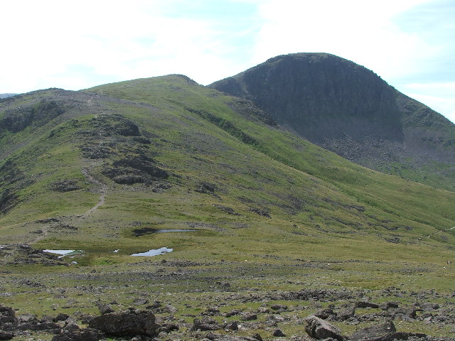 Green Gable and Great Gable from Gillercomb Head.