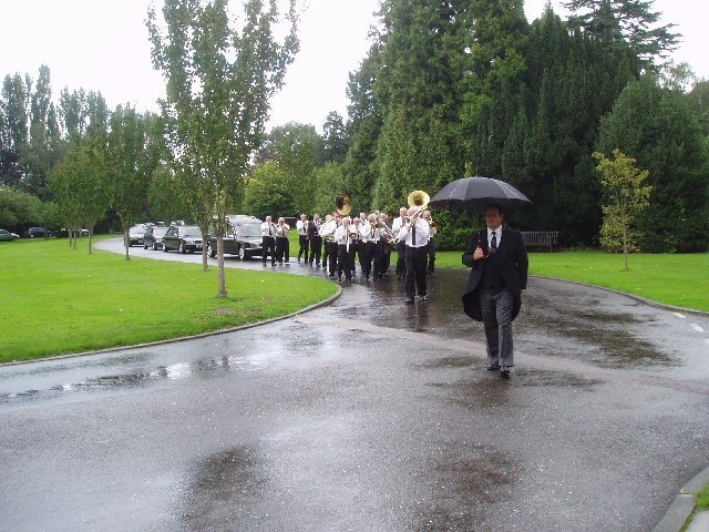 Jazz Funeral, Leatherhead Crematorium, Surrey