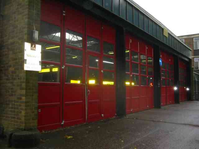 Doors to the fire station at Bernards Heath St Albans
