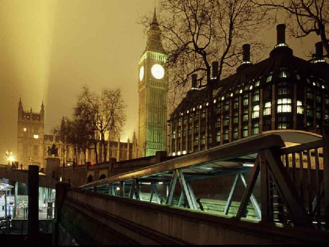 Big Ben and Westminster Pier at Night