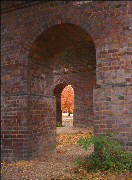 Brick built viaduct in Arnos Park carrying the Piccadilly Line