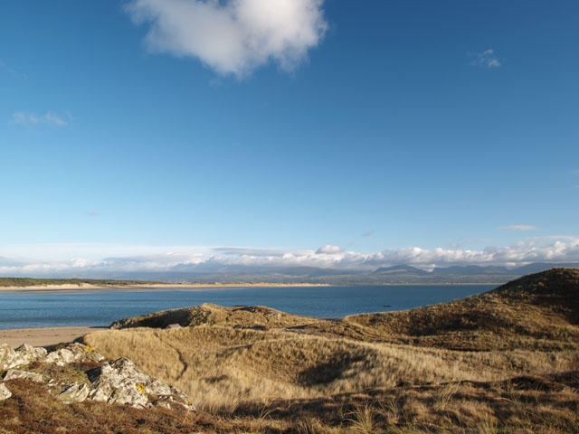 Newborough beach National Nature Reserve from Llanddwyn Island, Anglesey, Wales