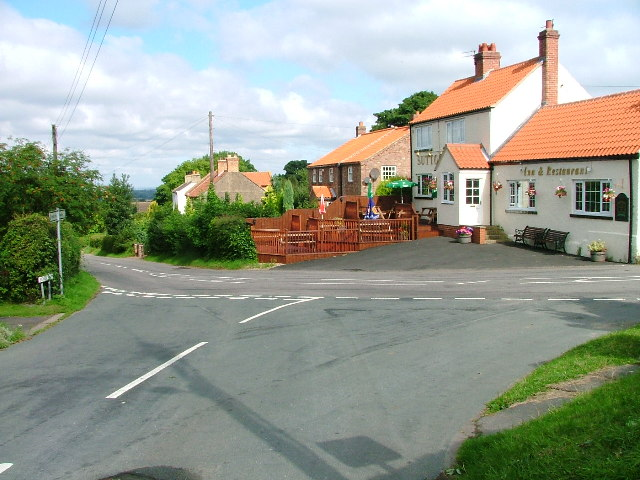 Faceby, Village Centre with Road Junction, Cottages and .... er, a pub.
