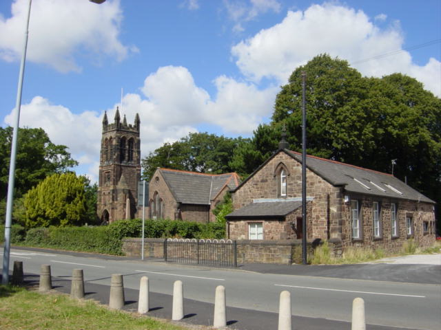 St  Nicholas' and old schoolhouse, Halewood Green