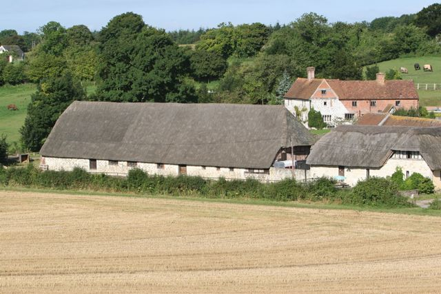 15th century barn at Hensting Farm