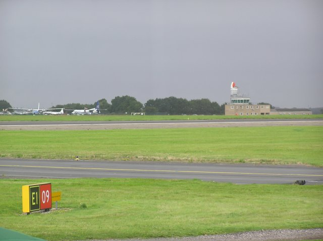 Norwich Airport tower and adjacent air museum