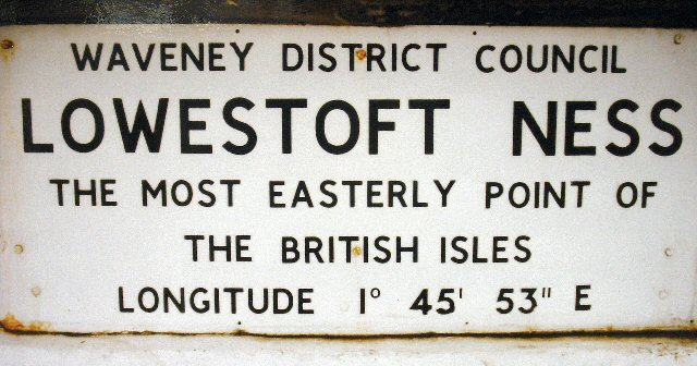 Local Council Plaque marking the Easterly Extremity of the British Isles.