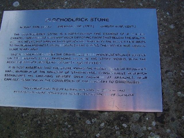 Plaque for Clochoderick Stone