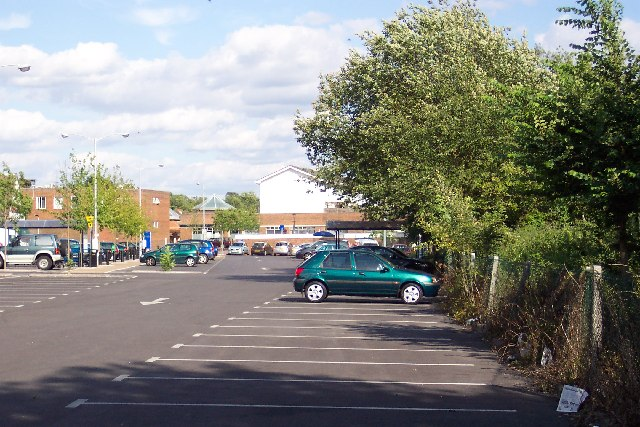 The car park and Stocklund Square, Cranleigh