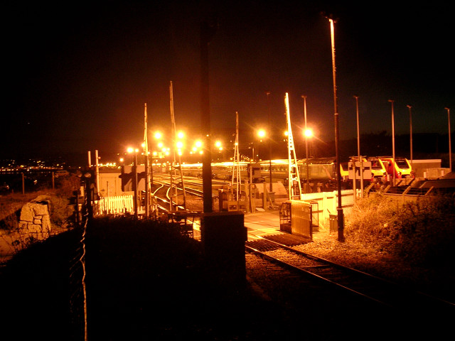 Long Rock level crossing and the Penzance train depot by night