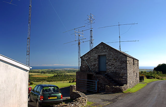 Barn with radio masts