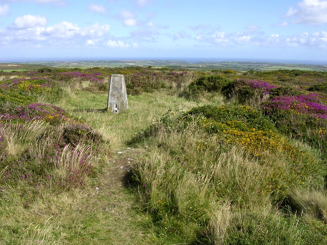 Trig point within Bartine Castle, Bartinney Downs