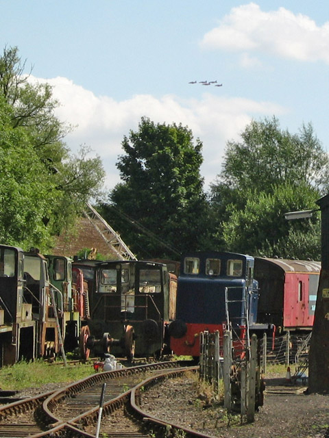 Red Arrows flying over the Rutland Railway Museum