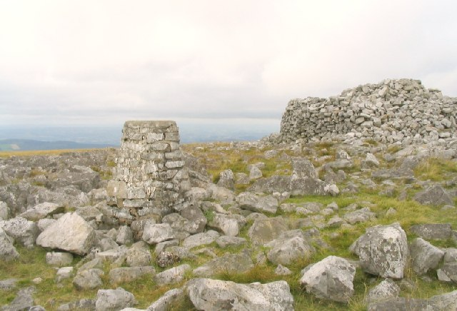 Trig point and giant cairn on summit of Garreg Lwyd