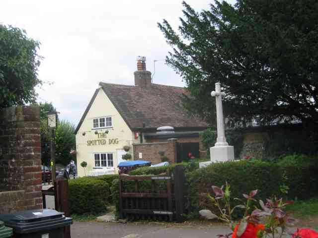 The Spotted Dog Pub and the War Memorial, Flamstead