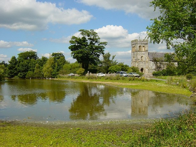 Falmer Pond and St Laurence Church