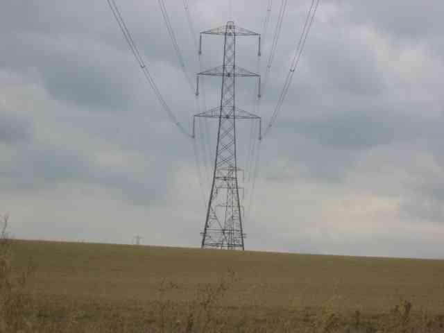 Transmission line and  Pylons over Gaddesden Lane