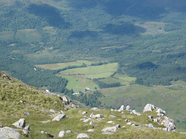 Glenure House from northern slopes of Beinn Sgulaird