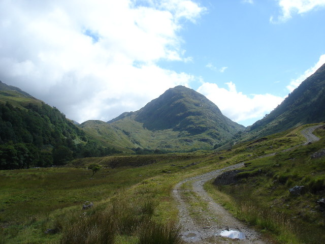 View east along Glen Ure towards An Grianan (547metres)