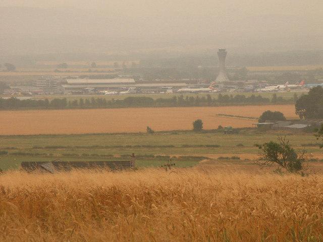 Fields (Distant shot of Edinburgh International Airport)