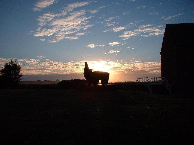 Sun rising over Henry Moore/Aldeburgh Festival Hall