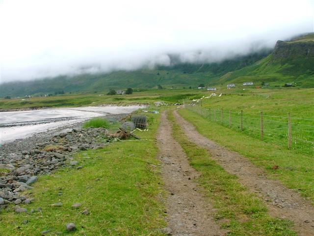 View of the Track to Laig looking Towards a cloudy Cleadale