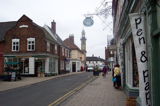 The Thoroughfare and Clock Tower, Harleston, Norfolk